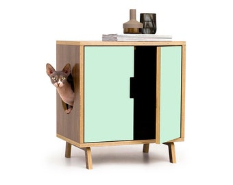 "Mid Century Modern Cat Litter Box Furniture | SMALL Cat Litter Box Cover | Pet House | MCM Walnut Side Table | ""The MINI Cabinet"""