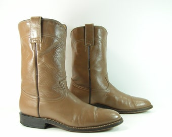 roper cowboy boots womens 10 m b tan taupe leather vintage western ropers dancing