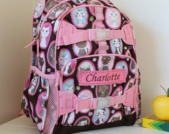 Small Girls Backpack With Monogram (Small Size) -- Chocolate Kitty