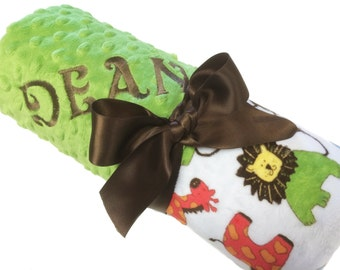 Lovey Size Personalized Jungle Baby Blanket with Green Minky Back over 35 fonts to choose fro