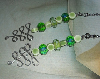 Beaded Ceiling Fan/Light Pull Set - Meadow - Green Home Decor Jewelry For Your Home Green Beaded Fan Pull Bright Fun Decor
