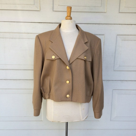 Bill Blass Wool Bomber Jacket 80s Vintage Khaki Brown Military