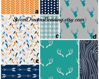 Custom Crib Bedding You Design   Bumper and Bedskirt Deer Teal Navy Orange