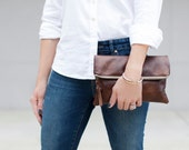 the marshall : zippered leather foldover clutch, brown leather exterior, striped interior, bridesmaid gift