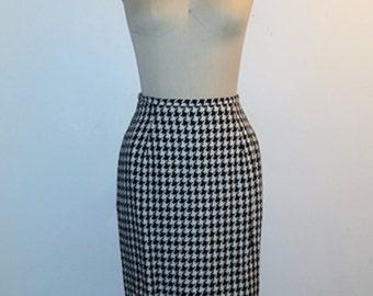 Vintage 1980s Skirt - Black and White Herringbone