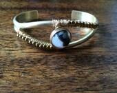 Black & White Panda Agate and Hematite Stone Bracelet