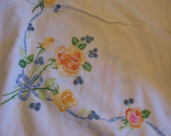 charming vintage embroidered table cloth