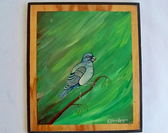 Vintage Signed Richard Kapugi Original Bird Painting on Wood