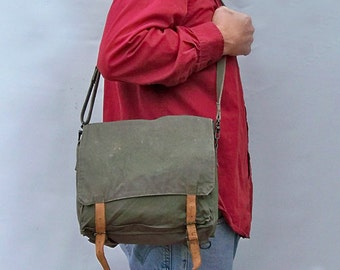 Vintage Army Rucksack Converts to Shoulder Bag - Distressed Canvas with Leather Straps