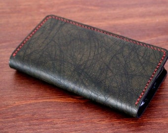 Android Phone wallet in Unique and Rare SCRATCHED DARK GREEN leather (Free Personalization)
