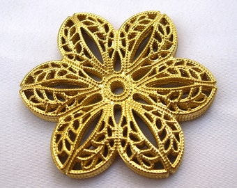 8pcs Flower Filigree Findings Raw Brass Filigree Wholesale Supply bf139