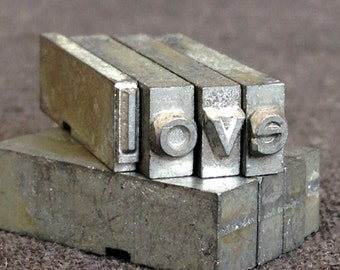 LOVE. Vintage letterpress printing blocks word spelling.