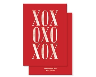 XOX (Hugs and Kisses and a bit of Love) - typographic greeting card - red