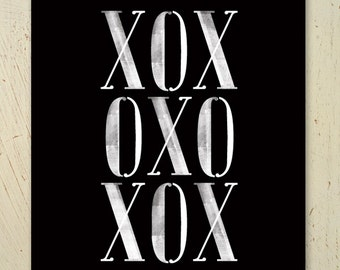 Typographic black and white print - XOX wall art (Hugs & Kisses and a bit of Love). Inspirational prints for the wall