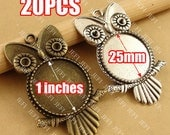 20 Owl Pendant trays- 25mm Round Cabochon Setting Wholesale, Antique Bronzed Tone/ Antique Silver Tone, 195g - HA3566