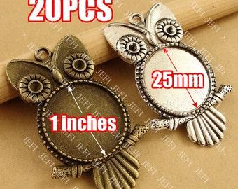 20 Owl Pendant trays- 25mm Round Cabochon Setting Wholesale, Antique Bronzed Tone/ Antique Silver Tone, 195g - HA3566