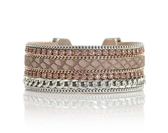 Taupe reptile leather cuff bracelet with silver plated curbchains and Swarovski crystal - leather jewelry - snake leather