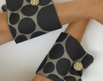 Brown and beige removable bracelet style wrist cuff,