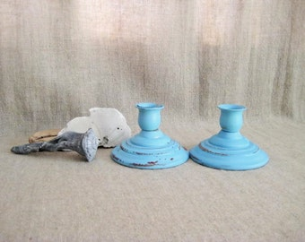 Beachy Blue Candle Holder Pair / Upcycled Cottage Chic Candle Holders / Shabby Blue Candlesticks