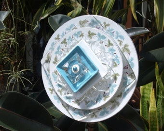 Soft Blue Teal Turquoise Repurpose Glass Plate Flower vintage