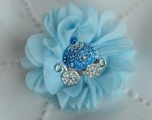 Cinderella inspired Flower hair clip- Blue Chiffon Flower with Rhinestone Coach