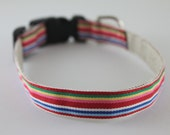 Hemp Dog Collar - Colorful Stripes - 3/4in