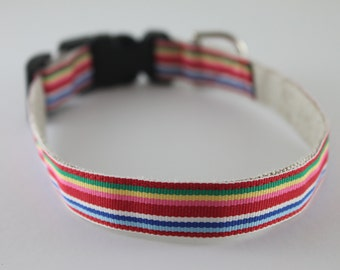 Hemp Dog Collar - Colorful Stripes - 3/4in