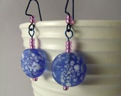 White speckled blue and purple bead earrings, hypo-allergenic navy ear wires