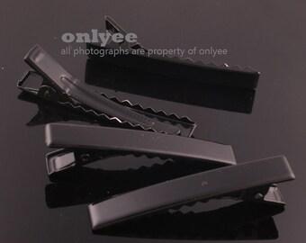 14pcs-45mmAlligator Colored Hair Clips Pins with Teeth-Black(E250)