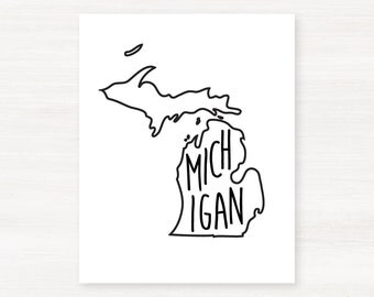 Michigan Typographic Print -  Custom State Map Art Print - 8x10 Giclée Print - Unique Gift Idea for Housewarming, Birthdays and Christmas