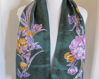 "Lovely Dark Green Floral Paoli Acetate Scarf - 10"" x 40"" Long"