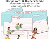 """Printable 1950's Retro Housewife Recipe Cards and Divider Cards Bundle - 3""""x5"""" size INSTANT DOWNLOAD"""