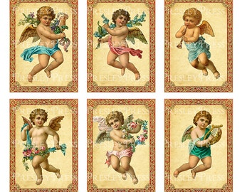 Angels, cherubs, ACEO,digital collage, instant download, CS5501