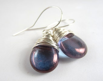 Purple Amethyst Earrings Valentines Gift Wire Wrapped Jewelry Handmade February Birthstone Jewelry Bridesmaid Wedding