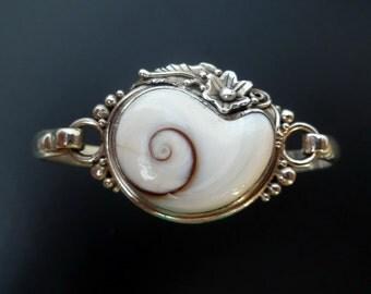 Handmade Sterling Silver and Shiva Eye Shell Bangle - White Spiral Shell Silver Bracelet - Cats Eye Bangle - Boho Jewellery - Custom Made