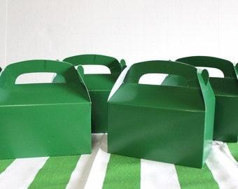 Green favor box (6), green gable box, party favor, candy box, - wedding favor, shower favor, birthday favor football soccer tractor