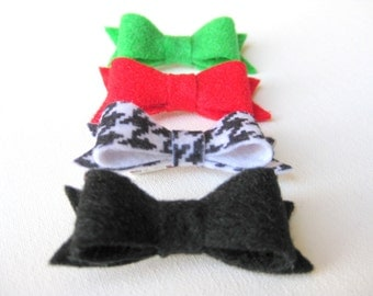 Mini Felt Hair Bow Clips - Christmas Set of 4 - Green / Red / Houndstooth / Black