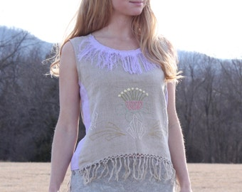 Upcycled Clothing OOAK Linen Tank Top Womens Small Medium S M Shabby Chic Unique Natural Eco Embroidery