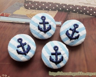 Fabric Covered Buttons (M) - Neat Navy Nautical Embroidered Anchors On Sky Blue Stripes (4Pcs, 0.87 Inch)