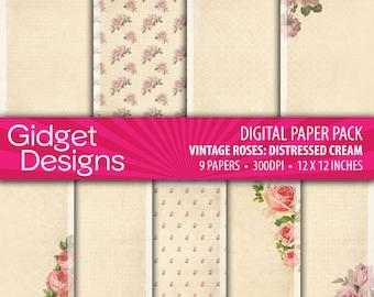 Vintage Roses Digital Paper Pack Damask Quatrafoil Roses Pattern Printable Paper Distressed Cream Instant Download