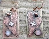 Native American Inspired Moonstone Mixed Metal Earrings