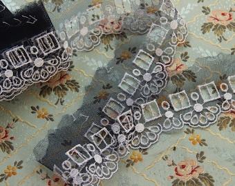 1 yard Vintage nylon tulle lace trim narrow sheer dress lingerie trim ribbon threading navy blue  white shelf bust