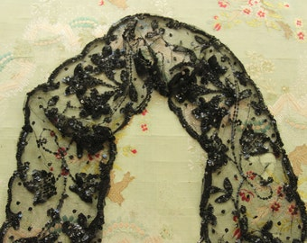 Antique large silk tulle beaded trim sequin gelatin lace flowers   Victorian black mourning wear millinery hat flapper dress trim
