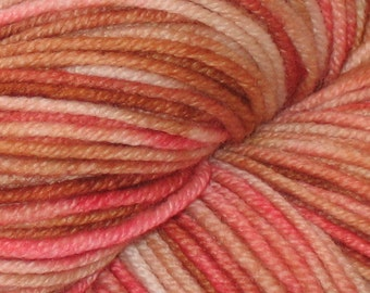 Pink and Tan OOAK 100% Superwash Merino DK Yarn