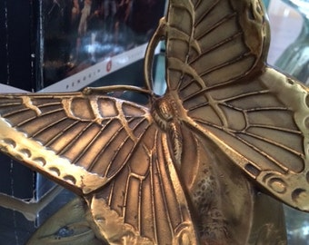 Heavy Solid Brass Butterfly Bookends