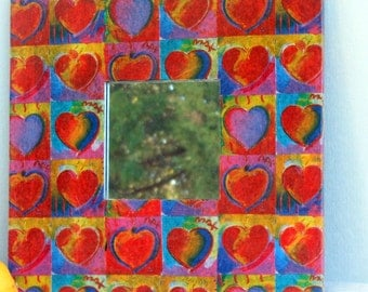 Hearts design mirror decoupage of  Peter Max Art © Heart Series tissue paper reuse wall wide wood frame red yellow blue green purple images