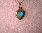 Tiny Turquoise and Brass Heart Necklace