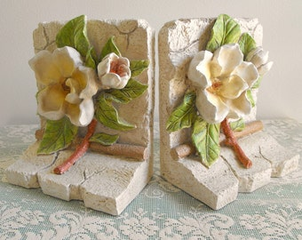 Vintage Pair White Magnolia Boodends - Collectable - Southern Charm Magnolia Bookend - Shabby Chic Cottage Boodends - Romantic Decor Bookend
