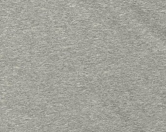 Solid Light Grey 4 Way Stretch 9 oz Cotton Lycra Jersey Knit Fabric, 1 Yard