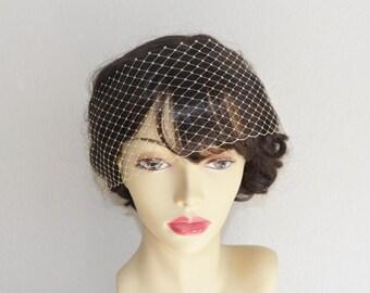 MADE TO ORDER, Mini birdcage veil, mini french netting, veil, champagne, ivory, white, black, 1920s veil, veil accent, vintage mini veil,